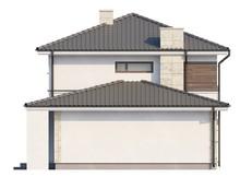 Проект коттеджа с интересным угловым балконом