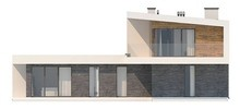 Современный особняк T - образной формы с плоской крышей