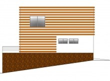 Современный коттедж с бассейном для участка с уклоном