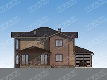 Проект дома с оригинальным деревянным дизайном фасада