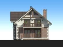 Проект коттеджа с кирпичным фасадом и двумя балконами