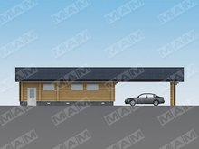 Практичный проект гаража с красивым деревянным фасадом