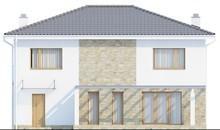 Проект двухэтажного коттеджа с балконом над гаражом