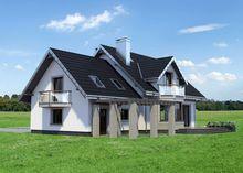 Современный загородный коттедж с большой террасой на заднем дворе
