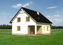 Уютный дом в колониальном стиле с гаражом и крыльцом