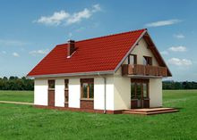 Архитектурный проект симпатичного домика с мансардой и верандой