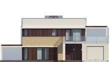 Проект коттеджа с плоской крышей террасой над гаражом