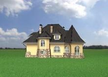 Оригинальный загородный коттедж с площадью 160 m² с эркерами и башнями