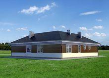 Загородный особняк с площадью 170 m² в форме буквы Г