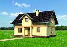 Небольшой загородный особняк с маленьким крыльцом и балконом