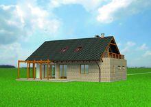 Стильный коттедж с деревянной террасой и балконом