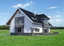 Проект коттеджа с мансардой и полукруглым балконом