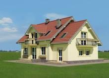 Интересный проект мансардного дома с частично кирпичным фасадом