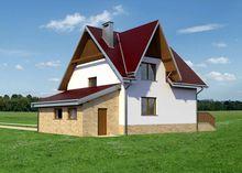 Архитектурный проект коттеджа с мансардой площадью 140 m² с гаражом