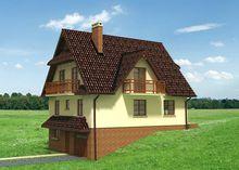 Красочный коттедж для загородного участка с наклоном