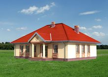 Уютный загородный дом с четырехскатной кровлей