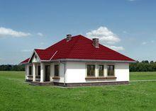 Одноэтажное поместье с колоннами на крыльце