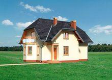 Дом в два этажа с эркером и открытой террасой