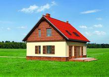 Дом с мансардой под алой крышей