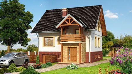 Дом в два этажа с симпатичным входным порталом