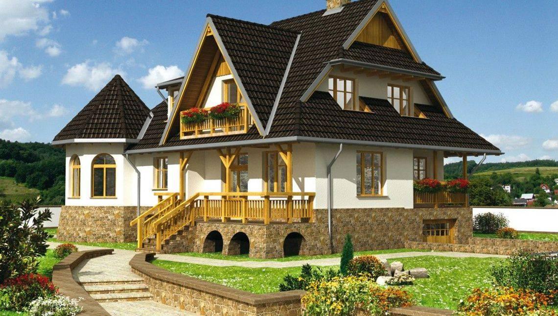 Стильный особняк с цокольным этажом и балконами