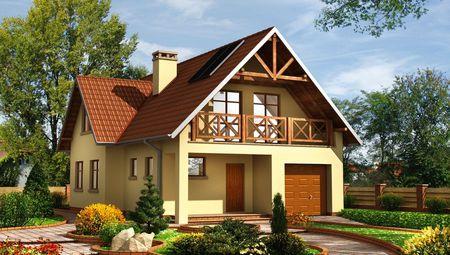 План симпатичного коттеджа площадью 167 кв. м с песочными стенами и красной крышей