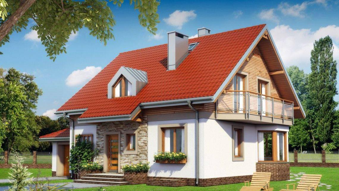 Загородный дом в современном стиле с изящным эркером и двумя балконами