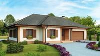 Проект большого одноэтажного дома с гаражом для двух машин