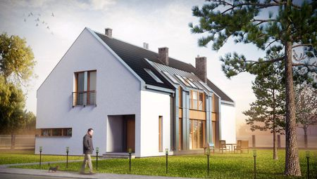 План стильного жилого дома с просторной гостиной в центре