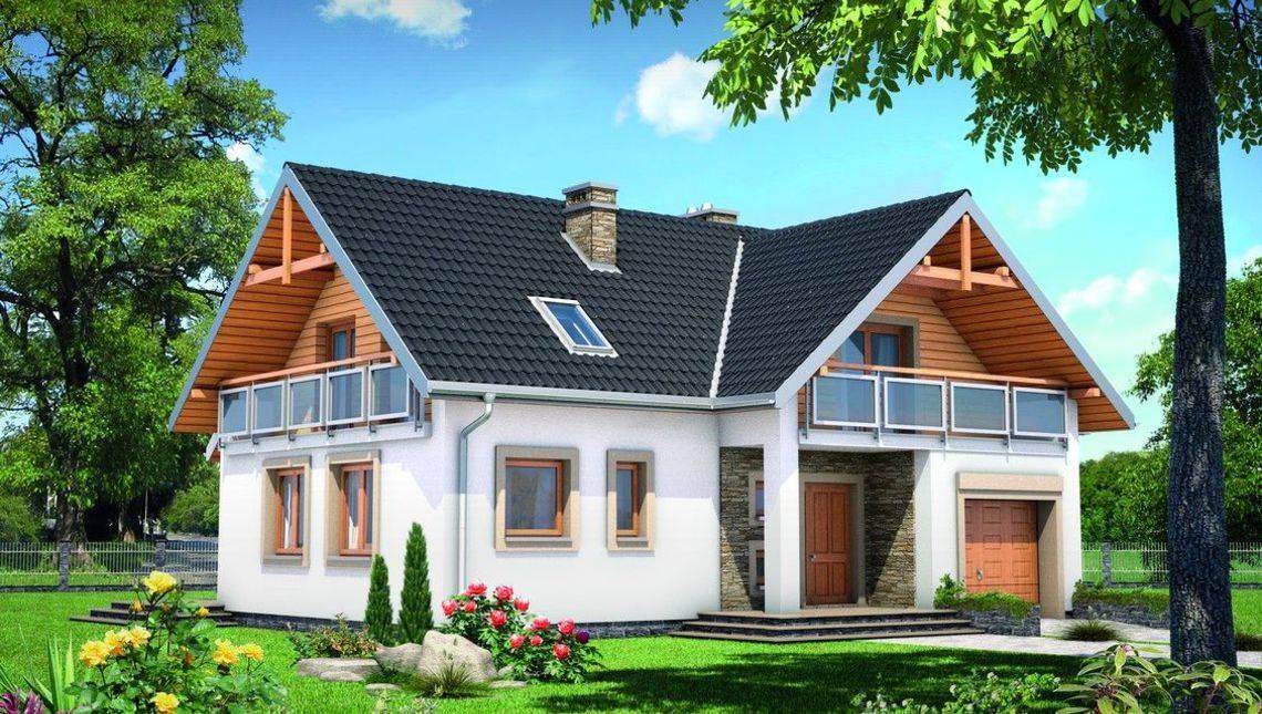 Проект мансардного дома с широкими балконами