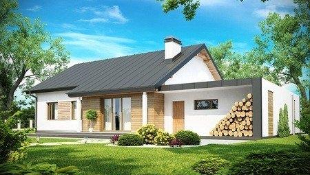 Проект одноэтажного классического дома с боковым гаражом