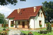 Европейский дом с теплым контрастом стен и крыши