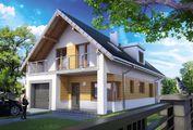 Двухэтажный коттедж, декорированный фасадными деревянными панелями