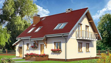Симпатичный проект дома с мансардой 170 m² с гаражом на 1 авто