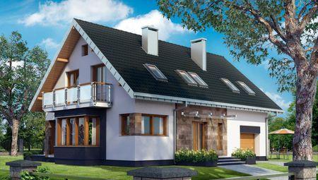 Живописный дом с эркером из натурального камня и французским балконом