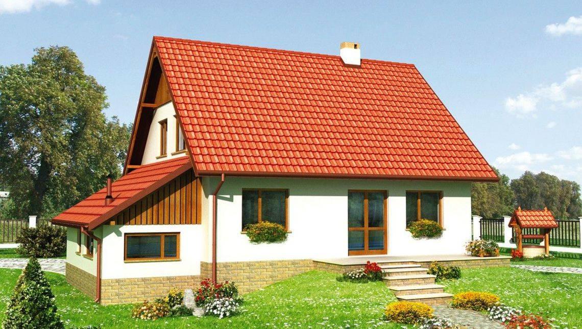 Проект коттеджа с пристроенным гаражом в деревенском стиле