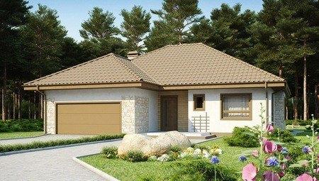 Проект 1-этажного дома с гаражом и мансардой