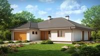 Проект просторного дома с мансардой и гаражом для 2 автомобилей