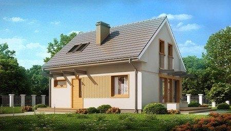 Проект компактного 1-этажного дома с мансардой с двускатной крышей