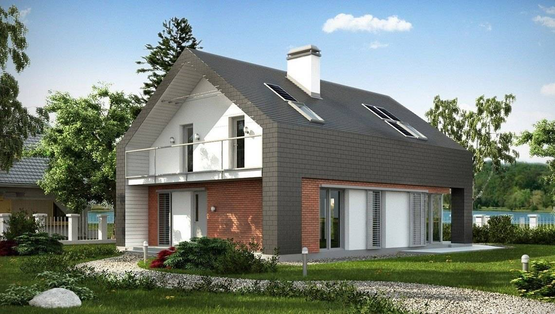 Проект практичного дома с оригинальной мансардой и кирпичным фасадом