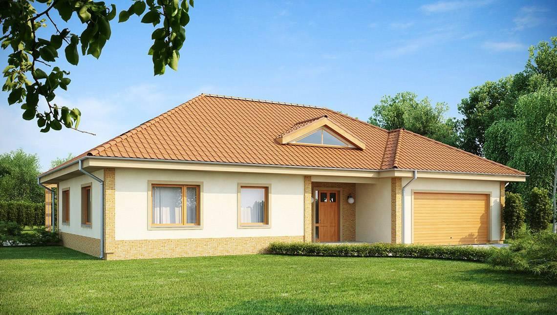 Проект одноэтажного дома с симпатичным кирпичным фасадом