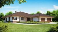 Одноэтажный проект дома для узкого участка с большим гаражом