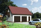 Проект гаража для 2х авто с мансардой и балконом