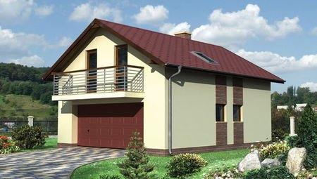 Проект для строительства одноэтажного здания с гаражом и балконом