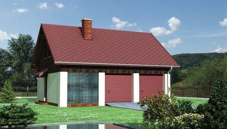 Проект одноэтажного здания с гаражом на 2 машины