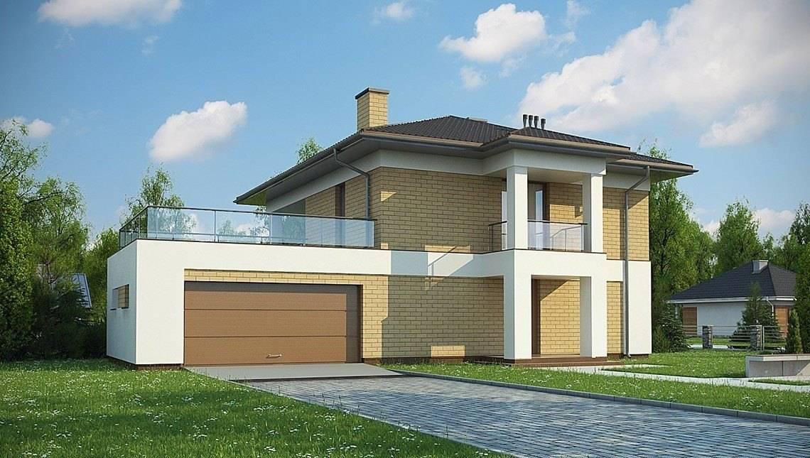 Проект небольшого двухэтажного дома с гаражом в пристройке