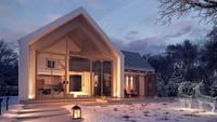 Проект небольшого двухэтажного дома с панорамным окном в гостиной