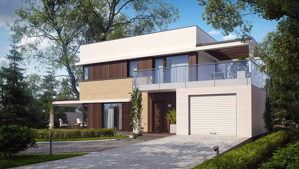 Проект двухэтажного коттеджа с плоской крышей и просторной террасой