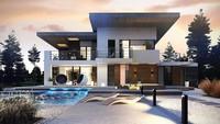 Проект современный двухэтажного дома с террасой на втором этаже