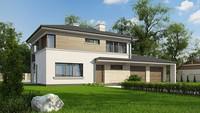 Проект современного двухэтажного дома с гаражом в пристройке